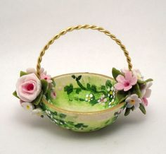 1/12TH scale   shabby chic floral basket by Lory by 64tnt on Etsy