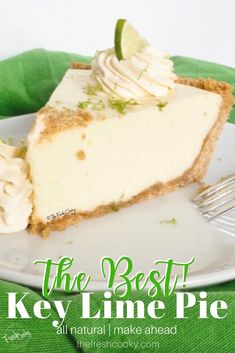 Pie Recipes 29414203805582458 - Creamy, key lime pie with a crunchy graham cracker butter crust. This award winning key lime pie recipe is easy, delicious and you can make it ahead of time! Recipe via The Fresh Cooky Dessert Simple, Award Winning Key Lime Pie Recipe, Graham Crackers, Graham Cracker Crust, Best Key Lime Pie, Key Lime Tart, Key Lime Mousse, Frozen Key Lime Pie, Key Lime Pie Bars