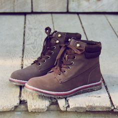 Sweet & Rugged Combat Boots in Brown, Rugged Boots & Shoes from Spool No.72 | Spool No.72 PERFECT hiking boots, omg!!!