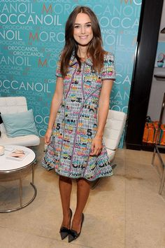 Keira Knightley wore a dress by Chanel and Mulberry heels.