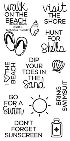 """TECHNIQUE TUESDAY: Planner Beach (2"""" x 4"""" Clear Photopolymer Stamp Set) This clear photopolymer stamp set is perfect for planners, calendars, reminders, pocket scrapbooks and cards. Set measures appro"""