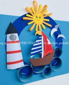 ДЕТСКИЕ ПОДЕЛКИ Ocean Animal Crafts, Animal Crafts For Kids, Summer Crafts For Kids, Diy For Kids, Boat Crafts, Diy And Crafts, Arts And Crafts, Paper Crafts, Classroom Crafts