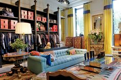 Inside the Eclectic Studio of Gert Voorjans - WSJ.com LOVE that sofa!!! Holy moly, I want a blue tufted love seat in my living room now for real....