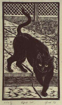 """Yvette Watt (Australian, b. 1963) - """"Black cat"""", 1992 - Linocut, printed in black ink, from one block"""
