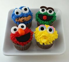 From The Minions to Sesame Street, let these cartoon cupcakes be your bakespiration for National Cupcake Week on September Cartoon Cupcakes, Elmo Cupcakes, Cookie Monster Cupcakes, Elmo Cake, Cupcake Cakes, Big Bird Cupcakes, Party Cartoon, Snowman Cupcakes, Party Cupcakes