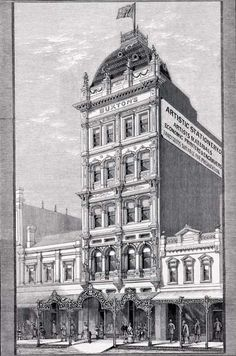 Buxton's stationery store, Swanston Street, site of a major exhibition by the Australian Impressionists in August 1889. It included 183 works, with the majority by Tom Roberts (62), Charles Conder (46) and Arthur Streeton (40).