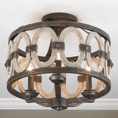 Driftwood Entwined Ovals Ceiling Light wrought_iron
