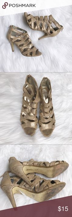 ❌donated❌Alfani light gold heels Light gold heels in used condition. Very comfortable, great neutral color for weddings Alfani Shoes Heels