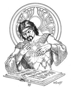The studious mage. Drawn for Tunnels & Trolls; became the iconic image for Deluxe T&T.
