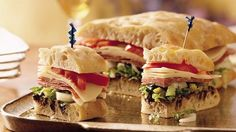 Hearty Italian-style sandwich slices boast a trio of colors and flavors.
