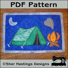 Camping fireside mug rug pattern, camping mini quilt