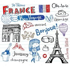 France Doodles Vector EPS. Download here: http://graphicriver.net/item/france-doodles/10755180?ref=ksioks