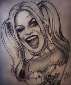 Just because I can't wait till the movie! Just because I can't wait till the movie! Just because I can't wait till the movie! Joker Drawings, Dark Art Drawings, Pencil Art Drawings, Art Drawings Sketches, Tattoo Drawings, Cool Drawings, Body Art Tattoos, Tattoo Sketches, Harley Quinn Tattoo