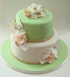 #wedding #anniversary #cake #pastelcolours #ivory #green #gumpaste #flower www.sweetavenuecakery.ca #sweetavenuecakery