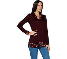 Kelly by Clinton Kelly Printed Mock Layer V-neck Top