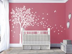Baby nursery tree wall decal tree vinyl wall by DecalsArtStudio Baby Girl Nursey, Baby Bedroom, Nursery Room, Kids Room Wall Decals, Art Wall Kids, Baby Room Themes, Baby Room Decor, Big Girl Bedrooms, Girl Room