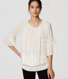 Primary Image of Lacy Bell Sleeve Top