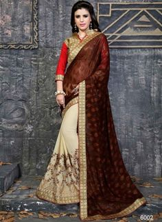 Magical Maroon Beige Embroidery Work Georgette Half  n Half Sarees  http://www.angelnx.com/featuredproduct