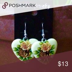🆕 Vintage Heart Earrings VTG pale yellow heart earrings with painted rose detail. For pierced ears. Please ask if you have questions. Jewelry Earrings