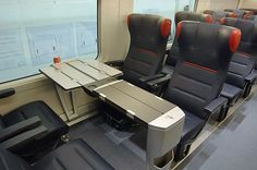 Ferrari high speed trains in Italy. Public service began April 28, 2012 in the Naples – Rome – Florence– Bologne – Milan corridor. Services will be extended to Salerno, Turin, and Venice by the end of 2012, when all 25 AGV trains come into service. (click photo for full article).