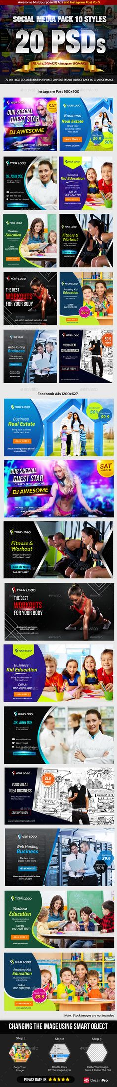 Facebook + Instagram Banners Pack Templates PSD #promotion #ads Download here: https://graphicriver.net/item/facebook-instagram-banners-pack-vol-5/17665828?ref=ksioks