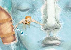 Naufragarme en ti (detalle)  Ilustración por Bran Sólo Retrato masculino