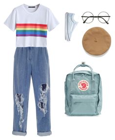 aesthetic - ish by brighidcady on Polyvore featuring polyvore fashion style Balmain Vans Fjällräven clothing