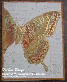 SU Swallowtail embossed in gold and colored with More Mustard & Cajun Craze classic ink using a sponge dauber. Background is stamped in Crumb Cake ink with French Foliage stamp set.