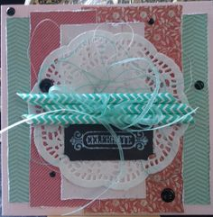 Card with scraps from MME, enamel dots and paper straws.. white Viva stamp ink.