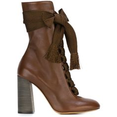 Chloé Chunky Lace Booties ($1,007) ❤ liked on Polyvore featuring shoes, boots, ankle booties, chloe, heels, brown, lace up ankle booties, brown boots, high heel boots and chunky heel boots