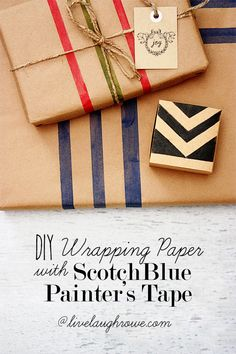 DIY Wrapping Paper with ScotchBlue Painter's Tape at livelaughrowe.com