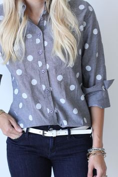 Polka Dot Chambray Button Down Top
