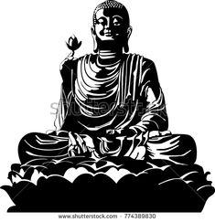 vector illustration of meditation Buddha black and white Body Art Tattoos, I Tattoo, Buddha Painting, Illustrations, Shirt Designs, Images, Photos, Silhouette, Superhero