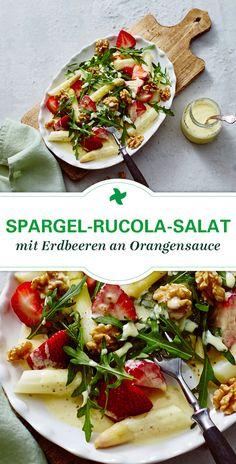 Was für ein toller Spargel-Salat! Und so einfach und schnell selbst gemacht! Thermomix ® Rezept für Spargel-Rucola-Salat mit Erdbeeren und Walnüssen an Orangensauce. Perfekt für den Frühling!
