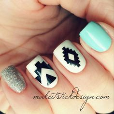 Aztec Vinyl Nail Decal  YOU CHOOSE COLOR Set by MakeitStickDesigns, $5.00
