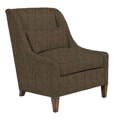 Club chair in deep brown woven fabric, from Pearson