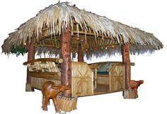 Tropical Garden Furniture - Bamboo Tiki Huts, Bars, Benches, Lights and Crafts Wiki Tiki, Bungalow, Tiki Bar Signs, Summer Porch, Tiki Hut, Tiki Room, Tropical Garden, Construction, Pool Houses