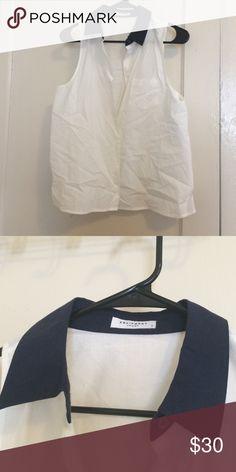 Equipment button down sleeveless top s Equipment button down sleeveless top with navy contrast collar S Equipment Tops Button Down Shirts
