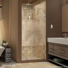 DreamLine SHDR-243357210-HFR-04 Unidoor Plus 33-1/2 to 34 in. W x 72 in. H Shower Door, Half Frosted Glass, Nickel Finish Hardware