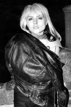 Debbie Harry | leather jacket | rock n roll | blondie | fashion icon | musician | singer | backstage |
