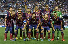 FC Barcelona line-up prior to the start the La Liga match between Valencia CF and FC Barcelona at Estadio Mestalla on September 1, 2013 in Valencia, Spain.