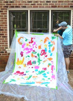 Have your kid make their own backdrop for a special photo | Young House Love