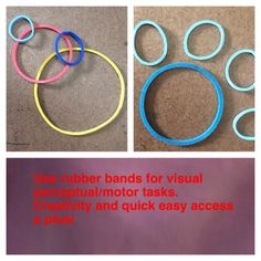 "Need something to do quick? Grab some rubber bands. Have the child create a design then write about it. Ask them to make something (make me a ""dog paw"" and see if they figure out. Make a small design and ask them to copy it, which requires figure-ground work, sequencing, searching, etc."