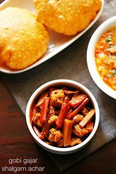 gobi gajar shalgam achar - sweet and sour punjabi winter special pickle made with cauliflower, carrots and turnips.
