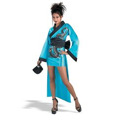 Dragon Geisha Adult Costume Includes a bi-level kimono style dress (shorter in front, longer in back) with black trim, dragon imprint, decorative fan, and a pair of chopsticks for your hair. Available