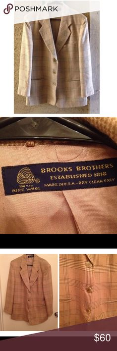 Brooks Brothers Pure Wool Tan Jacket Men's Size 14 The first photo shows what the jacket looks like in natural light. The rest of the photos were taken inside and has altered the color. Very good condition. There is a few small stains inside the jacket that can be shown in the last picture. 100% pure wool. Men's size 14. Made in USA. Dry clean only. The inside seems to be made of silk. It has three buttons. Three pockets in the front. Both sleeves have three buttons. There is also a pocket…