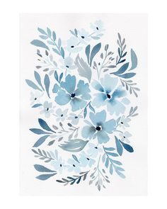 Chinoiserie Floral in Prussian Blue Wall Art Prints by Natalie Malan | Minted