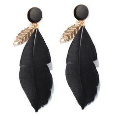 Chic Leaf Shape Alloy Black Feather Earrings For Women   Black by Moda Tendone - Earings Black, Earings, Fashionable, Jewelry, Women