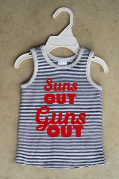 """Retro styled striped singlet """"Suns out, guns out"""" Cotton Baby TShirt Summer Baptism New born baby boysgift, first birthday by ShanonaDesigns on Etsy https://www.etsy.com/listing/217402253/retro-styled-striped-singlet-suns-out"""