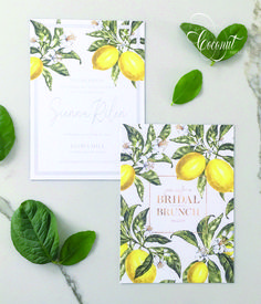 Lemon Print Bridal Shower Invitations by Coconut Press Boutique Design, A Boutique, Lemon Print, Natural Baby, Personalized Stationery, Bridal Shower Invitations, Wedding Events, Coconut, Branding